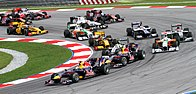 The opening lap of the 2010 Malaysian Grand Prix
