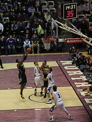 Rebound (basketball) - Image: 20130103 Offensive Rebound Glenn Robinson III rebound