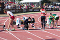 2013 IPC Athletics World Championships - 26072013 - Alicja Fiodorow of Poland, Styliani Smaragdi of Greece, Megan Absten of USA and Anrune Liebenberg of South-Africa preparing for the Women's 100m - T46 first semifinal.jpg