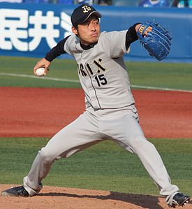 20140316 Tatsuya Sato, pitcher of the ORIX Buffaloes, at Yokohama Stadium.JPG