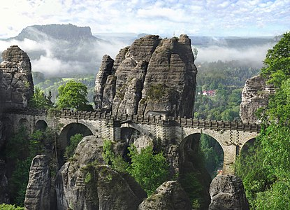 The picture shows the Bastei Bridge (Germany-Saxony) in the morning.