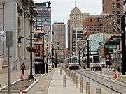 20150827 61 NFTA Light Rail at Fountain Plaza (21990211710)