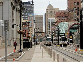 Buffalo Metro Rail - Two light rail vehicles at Fountain Plaza Station