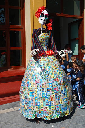 Lotería - Catrina in Chapala, Jalisco with dress of lotería cards