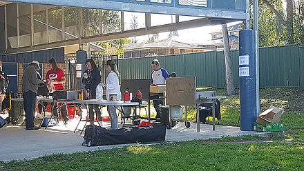 Volunteer-run sausage sizzle fundraiser at Metella Road Public School in Toongabbie at the 2016 election 20160702 111147 001b.jpg