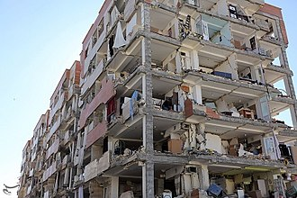 2017 Iran–Iraq earthquake - Damaged apartment block of Mehr housing project in Sarpol-e Zahab, Iran