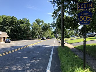 Dumont, New Jersey - County Route 505 southbound on the east side of Dumont
