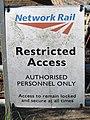 2018-09-13 Network rail sign, Bittern Line, Southrepps.JPG