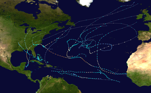 A map of the Atlantic Ocean depicting the tracks of sixteen tropical cyclones