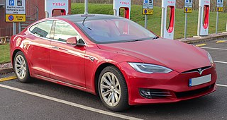 Tesla Model S electric sedan produced and sold by Tesla Motors