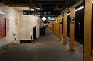 23rd Street (IND Eighth Avenue Line) - Crossunder on the southbound platform