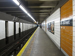 25th Street (BMT Fourth Avenue Line) - Platform towards Bay Ridge