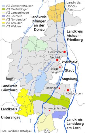 Landkreis Augsburg Karte.Liste Der Gemeinden Im Landkreis Augsburg Wikipedia