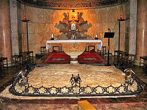 Church of All Nations - The bedrock where Jesus is believed to have prayed.