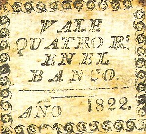 Peruvian real - Banknote for 4 reales (Quatro Rs) of 1822.