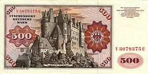 Eltz Castle - Eltz Castle on the reverse side of the 500 Deutsche Mark note (1965–1990s)