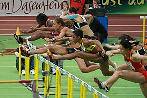 60 metres hurdles - Athletes running the 60m hurdles at the BW Bank Meeting in Karlsruhe, 2010