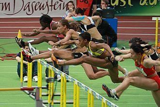 60 metres hurdles - Athletes running the 60m hurdles at the BW Bank Meeting in Karlsruhe, 2010