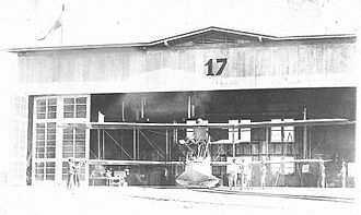 6th Weapons Squadron - Early photo of a 6th Aero Squadron Curtiss HS-2L flying boat in a hangar at Luke Field