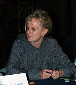 "Novelist Siri Hustvedt following ""The Writer's Life"" panel at the the 2014 Brooklyn Book Festival."