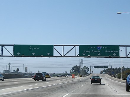 Westbound Artesia Freeway (SR 91) at the interchange with the Long Beach Freeway (I-710)