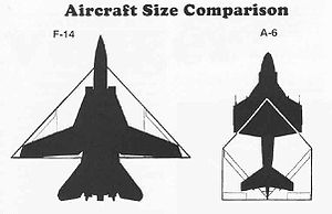 McDonnell Douglas A-12 Avenger II - A top view of A-12 vs. F-14 (wings folded down) and A-6 (wings folded up)