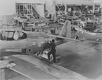 North American A-36 Apache - A-36A production line at NAA Inglewood, October 1942.