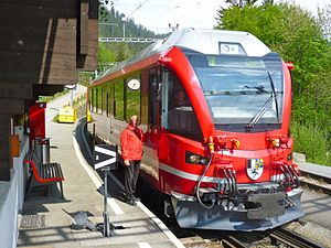 Rhaetian Railway ABe 8/12 - An ABe 8/12 at Lüen-Castiel, Chur-Arosa railway.