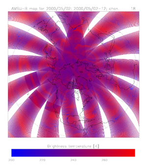 Collocation (remote sensing) - Polar-stereographic projection showing 12 hours of measurements from three AMSU-B instruments