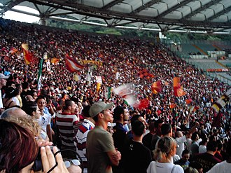 Roma fans at the Stadio Olimpico ASRomaOlimpico.jpg