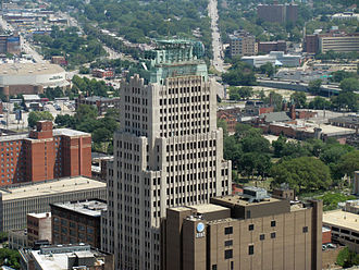 Hubbell & Benes - Ohio Bell Telephone Co. building as seen from the Terminal Tower observation deck