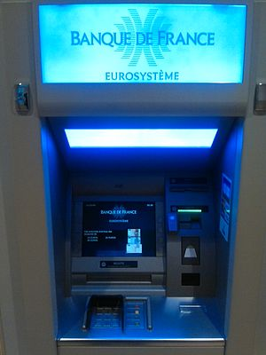 Bank of France - ATM of the Bank of France in Paris.