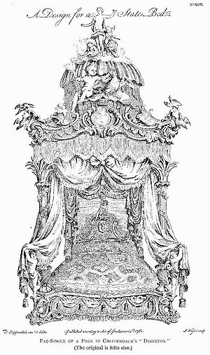 "Thomas Chippendale - ""A Design for a State Bed"" from the Director, 1762"