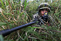 A Georgian soldier with Alpha Company, 31st Light Infantry Battalion provides security at the Joint Multinational Readiness Center in Hohenfels, Germany, Aug. 19, 2013, during Georgian Mission Rehearsal Exercise 130819-A-PU716-002.jpg