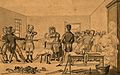 A surgeon supervising two groups of people pulling in opposi Wellcome V0016834.jpg