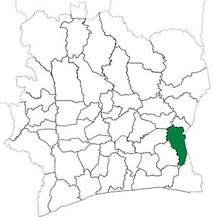 Abengourou Department - Abengourou Department from 1995 to 2008. (Other changes to subdivisions of Côte d'Ivoire began in 1997.)