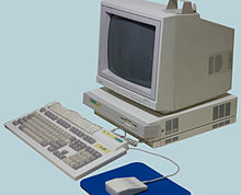 Archimedes 400/1 series computer: note the standard grey function keys on the keyboard; on BBC branded models, the function keys were red