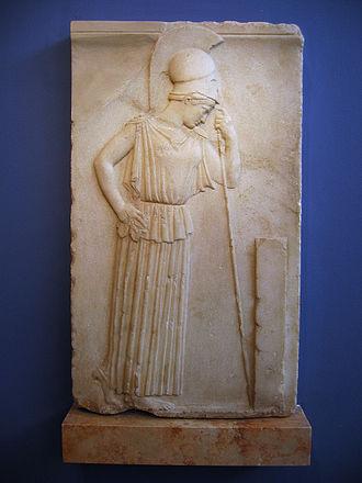 Peplos - Athena wearing a plain peplos, c. 460 BC