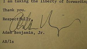 Adam Benjamin Jr. - Image: Adam Benjamin signature