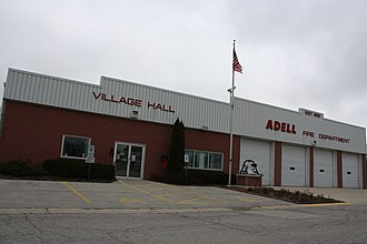 Adell, Wisconsin - Image: Adell Wisconsin Village Hall Fire Station