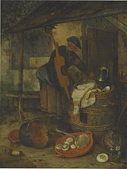 Outdoor still life of kitchen utensils with a woman by a doorway