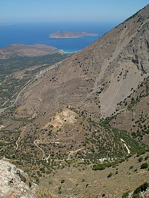 Pseira - Pseira island, in the distance, can be seen from Kavousi Kastro, an archaeological site overlooking Azoria View from the south.