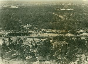 Brays Bayou - 1925 view of Brays Bayou looking north. The forested area is today the Texas Medical Center. Rice University and Memorial Hermann Hospital can be seen at the top left, and Hermann Park can be seen at the top right. Harris Gully, which has been rerouted into an underground culvert, runs from the left side of the photograph into Brays.