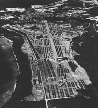 Operation New Life - Aerial view of the refugee camp at Orote Point, Guam.