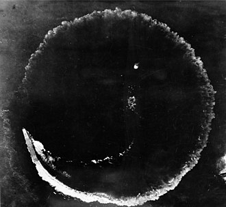 Japanese aircraft carrier Sōryū - Aerial photograph of Sōryū and its circular wake on the morning of 4 June 1942. The ship was circling to evade bombs dropped from high altitude by US B-17 aircraft. The photograph was taken from one of the B17s.