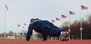 An Airman works out on the new exercise pad lo...