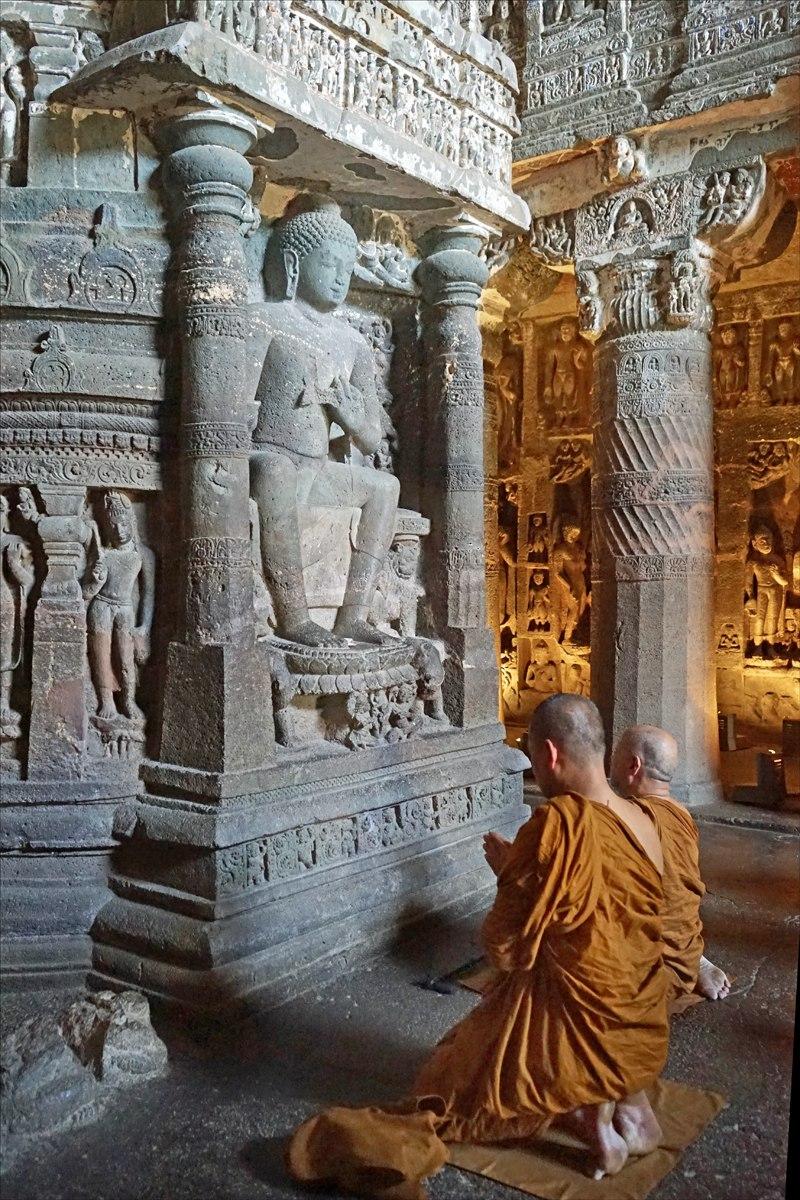 Ajanta Cave 26 Dagoba with praying monks