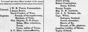 Telegraph and Texas Register - A partial scan of the March 24, 1836 edition of the Telegraph which contained the first list of defenders killed at the Battle of the Alamo
