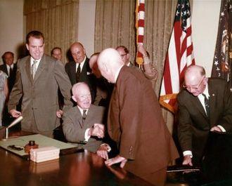 Alaska Statehood Act - Signing of the Alaska Statehood Act (Eisenhower and Nixon).