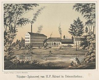 Vigogne-Spinnerei und Färberei von H. F. Kürzel in Crimmitzschau